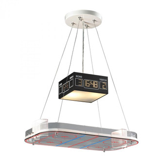 Novelty 2-Light Island Light in Silver with Hockey Arena Motif (91 5138/2)