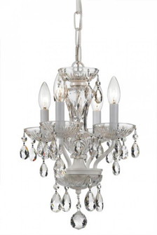 Traditional Crystal 4 Light Wet White Mini Chandelier (205|5534-WW-CL-SAQ)