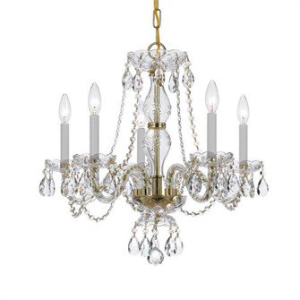 Traditional Crystal 5 Light Spectra Crystal Brass Chandelier (205|5085-PB-CL-SAQ)