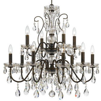 Butler 12 Light Clear Crystal English Bronze Chandelier (205|3029-EB-CL-SAQ)