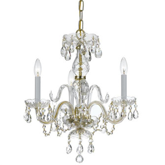 Traditional Crystal 3 Light Clear Spectra Crystal Brass Mini Chandelier (5044-PB-CL-SAQ)