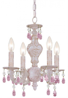 Paris Market 4 Light Rose Crystal White Mini Chandelier (5024-AW-RO-MWP)
