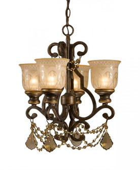 Norwalk 4 Light Golden Teak Swarovski Strass Crystal Bronze Mini Chandelier (7504-BU-GT-S)