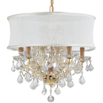 Brentwood 6 Light Crystal Gold Drum Shade Chandelier (205 4415-GD-SMW-CLQ)
