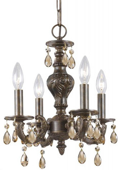 Paris Market 4 Light Golden Teak Crystal Bronze Mini Chandelier (5024-VB-GT-S)