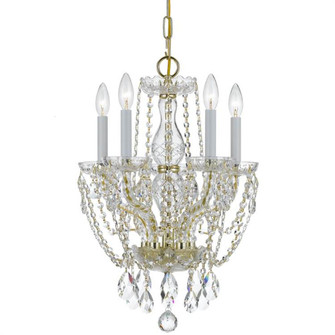 Traditional Crystal 5 Light Clear Crystal Brass Mini Chandelier (1129-PB-CL-MWP)