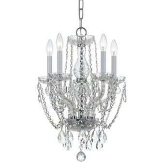 Traditional Crystal 5 Light Crystal Polished Chrome Mini Chandelier (205|1129-CH-CL-MWP)
