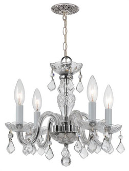 Traditional Crystal 4 Light Clear Spectra Crystal Chrome Mini Chandelier (205 1064-CH-CL-SAQ)
