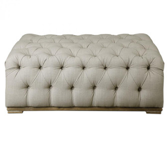 Uttermost Kaniel Tufted Antique White Ottoman (85|23253)