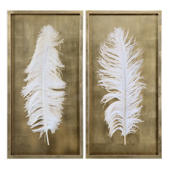 Uttermost White Feathers Gold Shadow Box S/2 (85|04057)