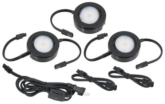 MVP LED Puck Light, 120 Volts, 4.3 Watts, 250 Lumens, Black, 3 Puck Kit with Roll Switch and 6 (44|MVP-3-30-BK)