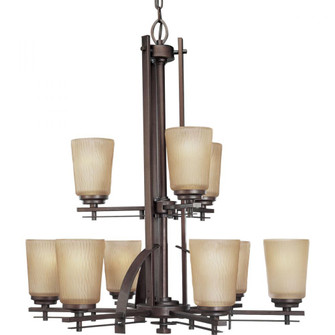 Nine Light Heirloom Etched Light Topaz Glass Up Chandelier (149|P4214-88)
