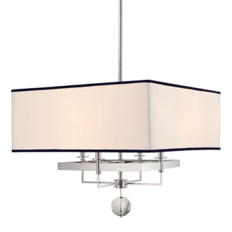 4 LIGHT CHANDELIER WITH BLACK TRIM ON SHADE (57|5646-PN)