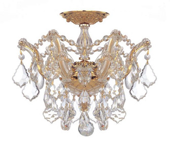 Maria Theresa 3 Light Clear Crystal Gold Semi-Flush (205|4430-GD-CL-S)