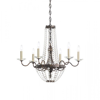 Early American 6 Light Transitional Chandelier in Heirloom Bronze with Clear Crystals From Swarovski (168|ER1016N-76S)