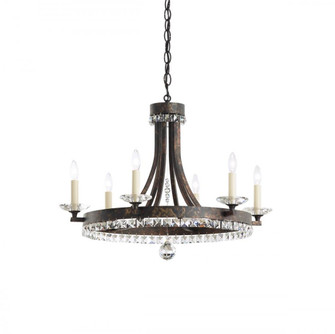 Early American 6 Light Transitional Chandelier in Heirloom Bronze with Clear Crystals From Swarovski (168|ER1006N-76S)