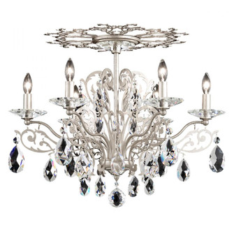 Filigrae 6 Light Traditional Semi-flush in Antique Silver with Clear Spectra Crystal (168 FE7206N-48A)