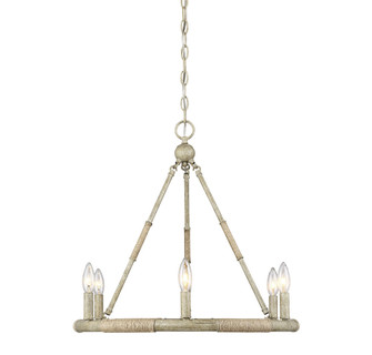 6 Light Natural Wood and Rope Chandelier (8483|M10047NWR)