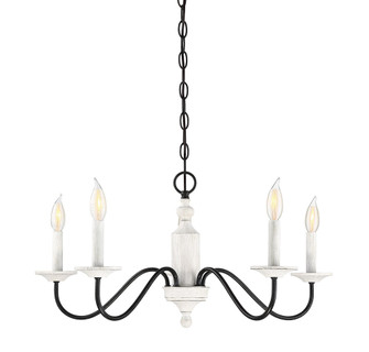 5 Light Washed Wood and Iron Chandelier (8483|M10044WW)