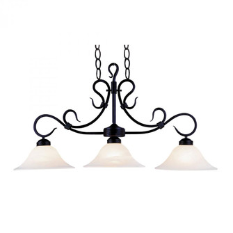 Buckingham 3-Light Island Light in Matte Black with White Faux-Marble Glass (91|247-BK)