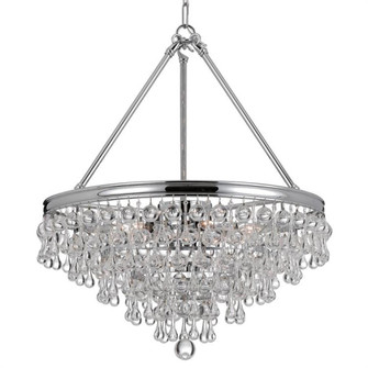 Calypso 6 Light Crystal Teardrop Chrome Chandelier (205|136-CH)
