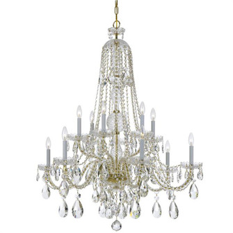 Traditional Crystal 12 Light Spectra Crystal Polished Brass Chandelier (205|1112-PB-CL-SAQ)