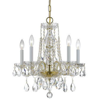 Traditional Crystal 5 Light Swarovski Strass Crystal Brass Mini Chandelier (1061-PB-CL-S)
