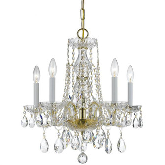 Traditional Crystal 5 Light Clear Crystal Brass Mini Chandelier (1061-PB-CL-MWP)