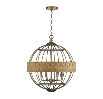 Boreal 4 Light Warm Brass With Natural Rattan Pendant (128|7-7773-4-177)