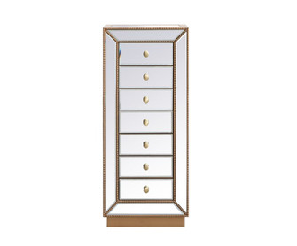 18 inch mirrored lingere chest in antique gold (758 MF53047G)
