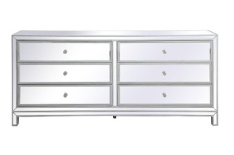 Reflexion 72 in. mirrored six drawer chest in antique silver (758 MF73672S)