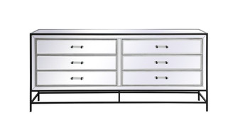 James 72 in. mirrored six drawer chest in black (758 MF73672BK)