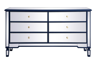 60 inch mirrored 6 drawer chest in blue (758 MF6-1036BL)