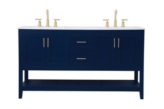 60 inch Double Bathroom Vanity in Blue (758|VF16060DBL)