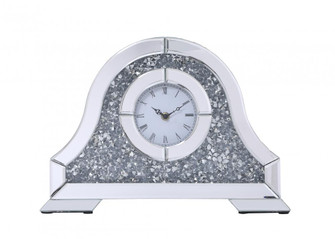 Sparkle 15.7 in. ContemporarySilver Crystal Table clock (758|MR9240)