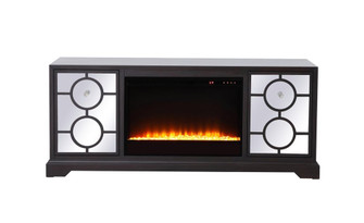 60 in. mirrored TV stand with crystal fireplace insert in dark walnut (758|MF802DT-F2)