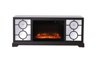 60 in. mirrored TV stand with wood fireplace insert in dark walnut (758|MF802DT-F1)