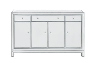 Buffet Cabinet 3 drawers 4 doors 56in. W x 13in. D x 36in. H in antique silver paint (758|MF72001)