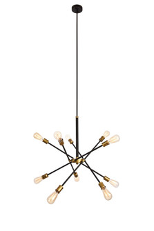 Axel Collection Chandelier D27.2 H32.5 Lt:10 Black and Brass Finish (758|LD8003D28BK)