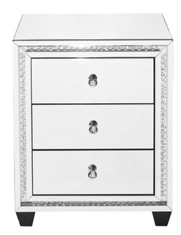 22 inch Crystal three drawers end Table in Clear Mirror Finish (758|MF91012)