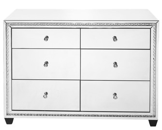 47 inch Crystal six drawers Cabinet in Clear Mirror Finish (758|MF91011)