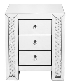 22 inch Crystal three drawers end Table in Clear Mirror Finish (758|MF91006)