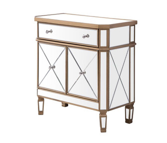 1 Drawer 2 Door Cabinet 32 in. x 16 in. x 32 in. in Gold Clear (758|MF6-1102GC)