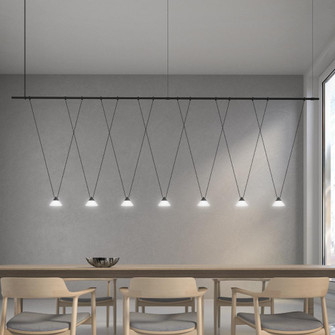 96'' 1-Tier Linear with V-Line Etched Glass Cone Luminaires (107|SLS1167)