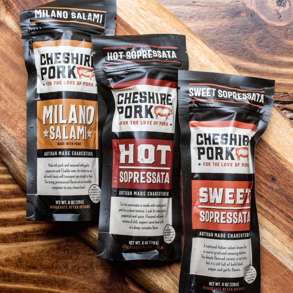 Cheshire Pork Hot & Sweet Sopressata, and Milano Salami 6 ounce