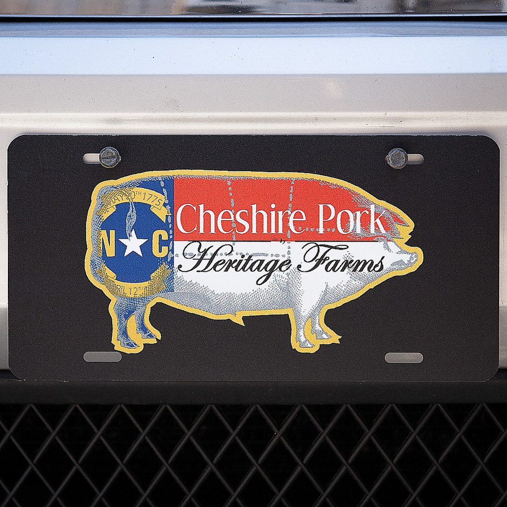 Cheshire Pork Logo License Plate in Black #pigswag