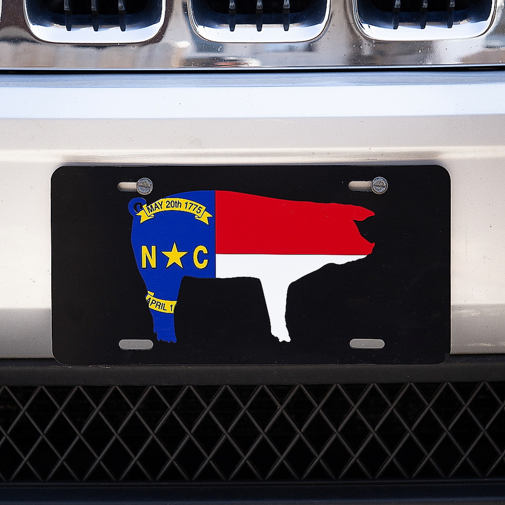 North Carolina Pig Flag License Plate, Black