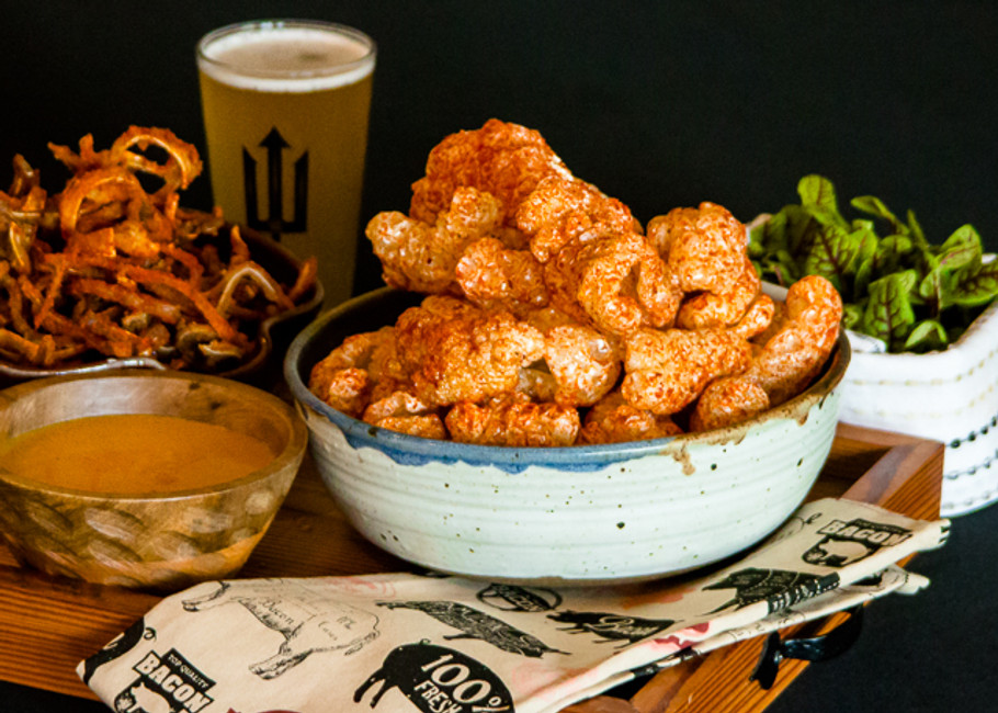 RECIPE:  BBQ SEASONED PORK RINDS AND CRISPY CHESHIRE PIG EARS WITH CAROLINA GOLD BBQ SAUCE