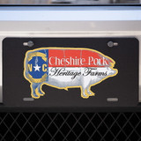 Cheshire Pork Logo License Plate in Black #pigswag