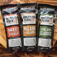 Cheshire Pork Uncured Milano Salami, Sweet Sopressata, and Salami Classico 6oz Chub